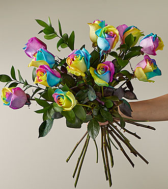 Time to Celebrate Rainbow Rose Bouquet -  No Vase