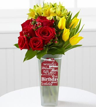 The FTD® Happy Birthday Bouquet by Better Homes and Gardens® - 12 Stems- VASE INCLUDED