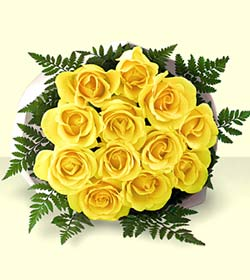The FTD® Medium Stemmed Yellow Rose Bouquet with Vase
