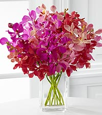 Tickled Pink Orchid Bouquet - 10 Stems - VASE INCLUDED