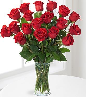 12 Premium Red Roses plus 6 FREE Stems & FREE Vase