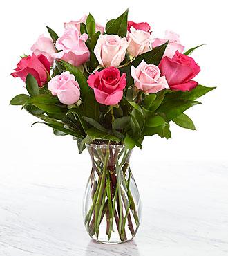 1 Dozen Pink Roses - VASE INCLUDED