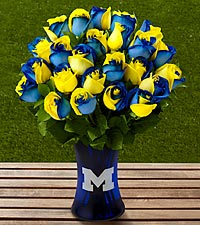 The FTD® University of Michigan™ Wolverines™ Rose Bouquet - VASE INCLUDED