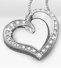 1/4 ct tw Diamond Open Heart Sterling Silver Pendant