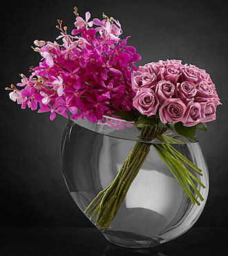 Duet Luxury Rose Bouquet - 18 Stems of 24-inch Premium Long-Stemmed Roses - VASE INCLUDED