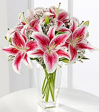 The Pink Lily Bouquet by FTD® - VASE INCLUDED